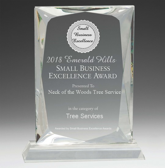 Neck of the Woods Tree Service selected for 2018 Emerald Hills Small Business Excellence Award - Blog - Neck of the Woods Tree Service  - Attachment-1