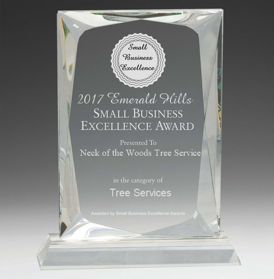 Neck of the Woods Earns Small Business Excellence Award - Blog - Neck of the Woods Tree Service  - award
